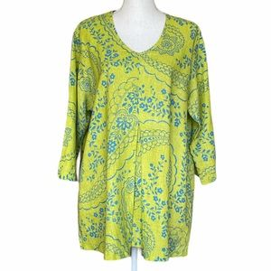 Flax Front Pleat Lime Green Linen Printed Shirt